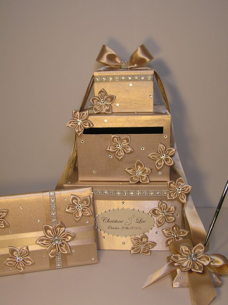 4 Sets 3 tier Champagne Wedding Card
