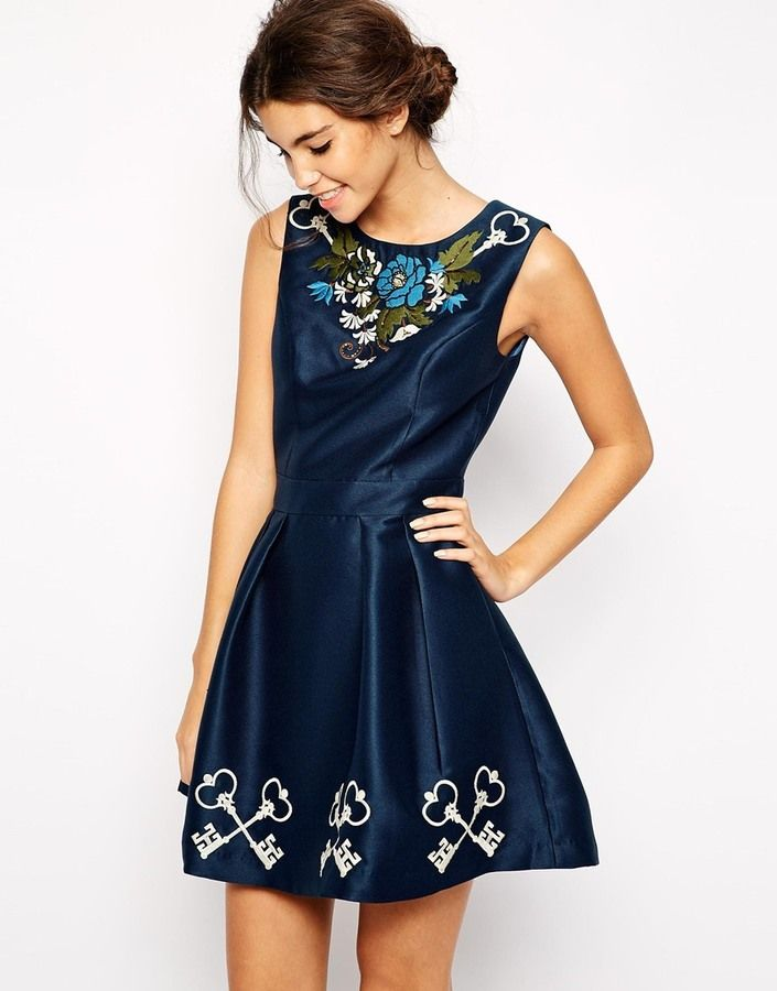 Chi Chi London Structured Prom Dress with Embroidery