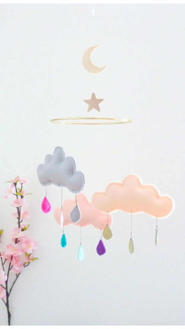 DIY mobile inspiration: felt clouds and drops