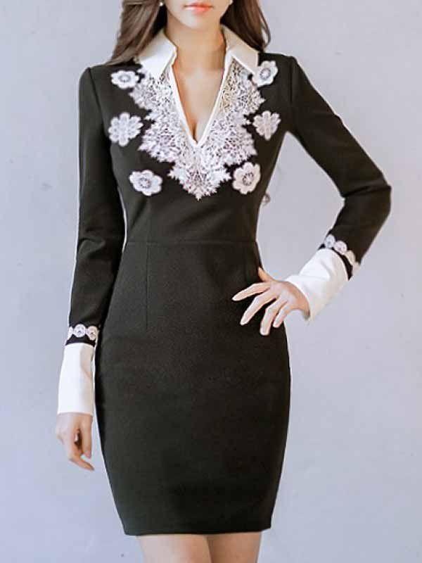 気質よい 女性らしく 長袖 Vネック ヒップパック 上質 セクシーワンピース - レディースファッション激安通販 20代·30代·40代ファッション