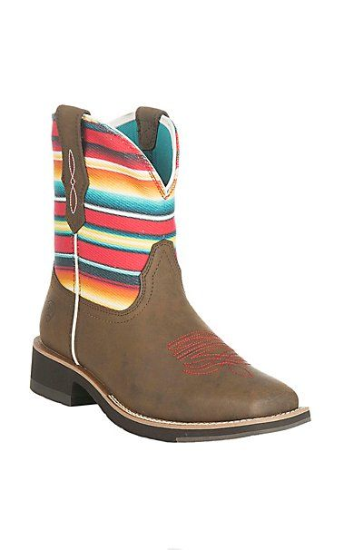 Ariat Women's Brown with Gringa Sarape Print Stripped Upper Fatbaby Boots | Cavender's