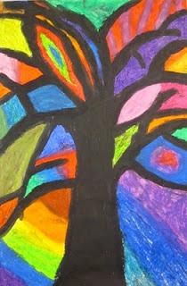 Abstract Trees Inspired by Piet Mondrian  Fourth and Fifth Grade