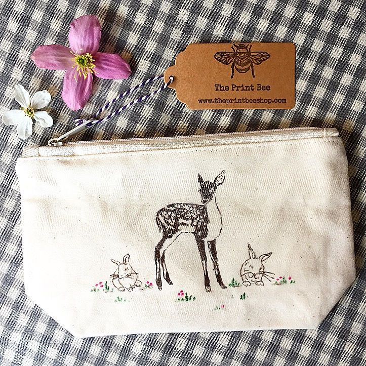 Woodland animal canvas wash bag | Makeup bag | Toiletry bag  | Accessory bag | zipper bag | cotton pouch | fawn and bunnies |