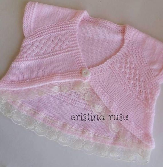 READY TO SHIP Handmade Knit Bolero Toddler Girls/Pink