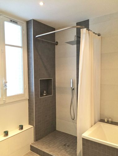 Barre de rideau de douche en u sans traverse interm diaire - Tringle rideau de douche sans percer ...