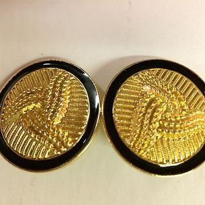 Vintage Large Golden Art Nuevo Raised Design Black Trim Ear Rings  | eBay