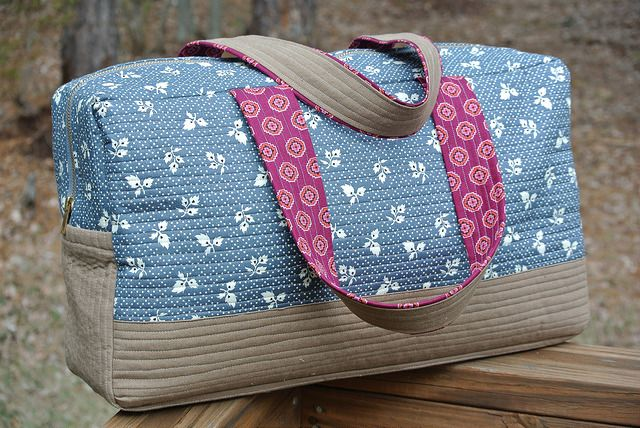 I made the Noodlehead Cargo Duffle (free pattern) along with at least half the online quilting community with the intent of it being my overnight/weekend bag to go camping or traveling with.  I don't get to make bags as often as I would like because I just don't need that many!  I carry a diaper bag …