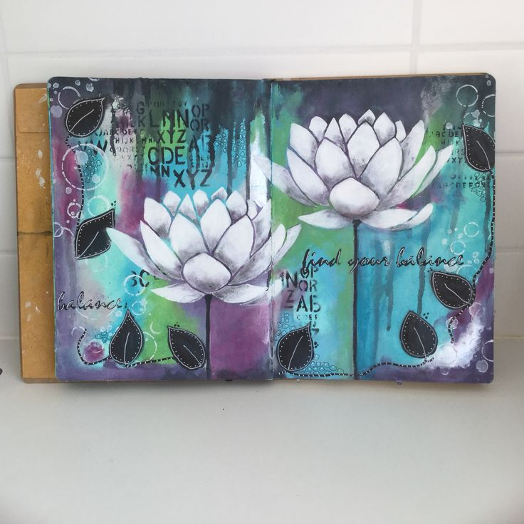 Acrylicpaint, stencil from Donna Downey in my art journal. Anja Waage