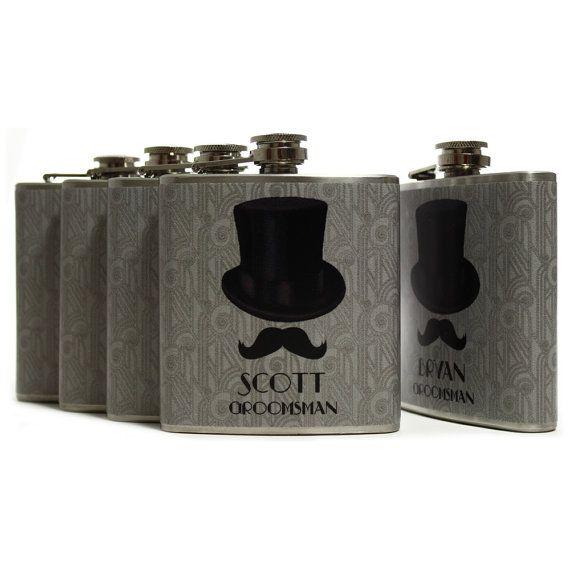Personalisierte Geschenke für Trauzeugen / / Debonair Schnurrbart Man Geschenk Flaschen Art Déco 20er Jahre