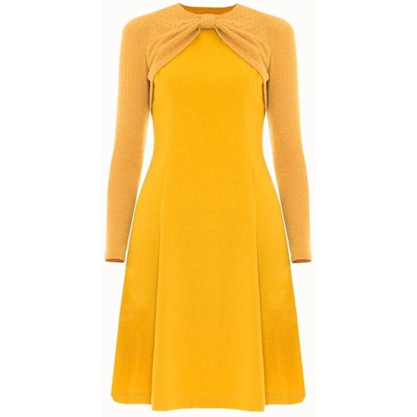 Victor Xenia London - Maria Dress Mustard ($134) ❤ liked on Polyvore featuring dresses, drapey dress, calf length dresses, sleeved dresses, drape sleeve dress and yellow dress