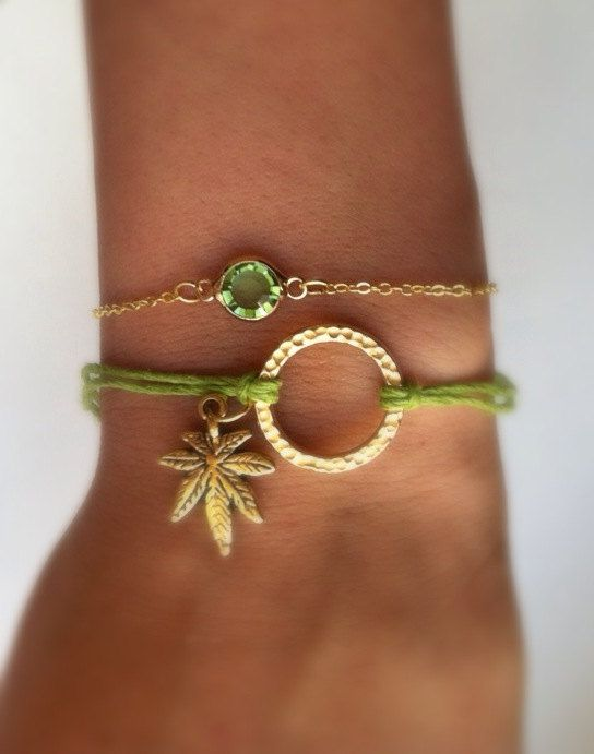 Super Cute Cannabis Charm Hemp Bracelet on Etsy, $6.50