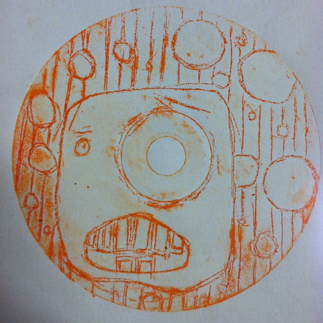 CD prints (using old CDs, etch into and use block ink to print) #8thgrade
