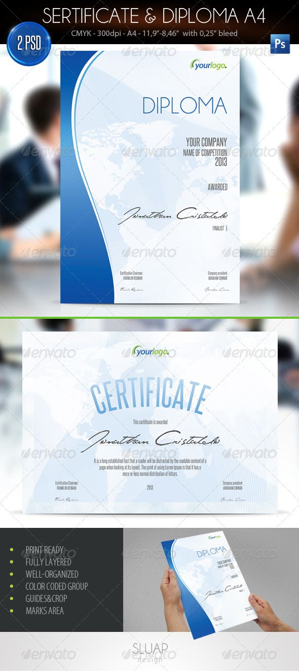 #Sertificate & Diploma A4 - #Certificates #Stationery Download here: https://graphicriver.net/item/sertificate-diploma-a4/4548725?ref=alena994