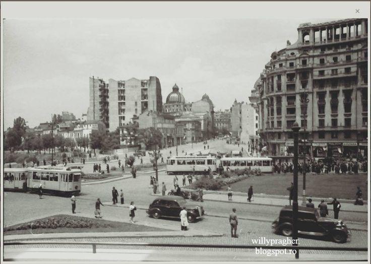 Calea Victoriei, spre cheiul Dâmboviței. Undeva, pe stânga Căii Victoriei, înainte de Palatul CEC, s-a aflat magazinul de blănuri de lux al bunicului Prager... Fotografie nedatată (1941-1944) — in Bukarest, Rumänien.