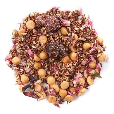Raspberry Cream Pie - Rooibos. Green rooibos, cane sugar, white chocolate chips, pink sugar mix. Caffeine free.