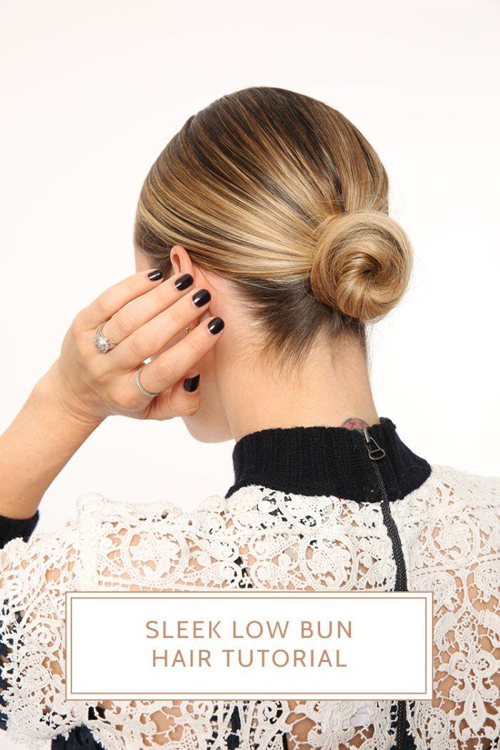 Sleek Low Bun Hair Tutorial With Nexxus Brooklyn Blonde In 2020 Hair Bun Tutorial Sleek Bun Hairstyles Short Hair Bun