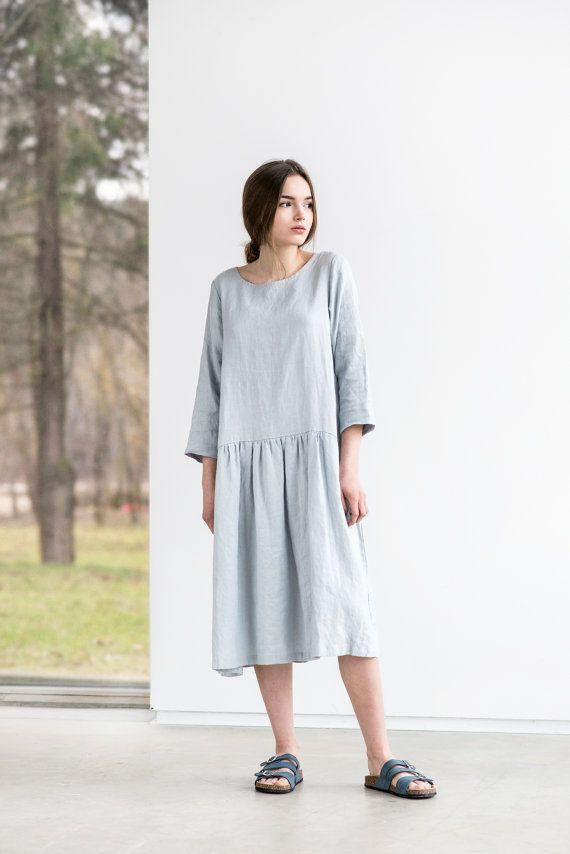 Linen dress with sleeves. Washed and soft linen by notPERFECTLINEN