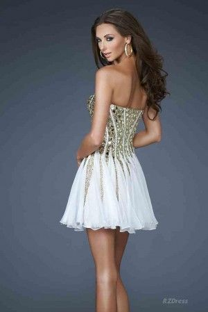 short prom dress pretty gold accents