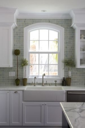 Tile to the ceiling. I love this look