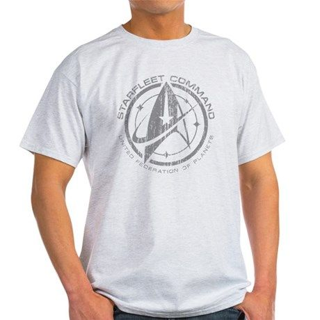 Vintage Starfleet Command T-Shirt - Description: A fan inspired Star Trek design. A grey Starfleet command emblem with stylized delta symbol and stars, with a worn and cracked texture for a retro, vintage look.