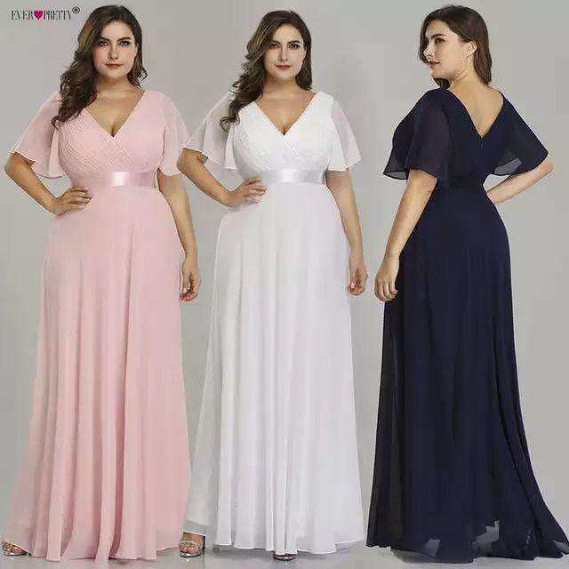 Plus tamaño Rosa vestidos largos De baile bonito cuello en V gasa vestido traje…