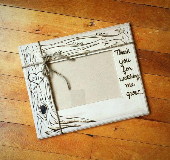 Teacher, nanny, daycare gift, wood burned frame, 5x7 caretaker gift, personalized wood frame, nanny gift, daycare provider gift