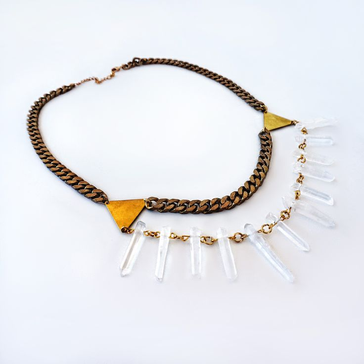 Lycidas necklace, quartz crystals, raw brass triangle chrams and chain  https://www.facebook.com/jewelrylycidas