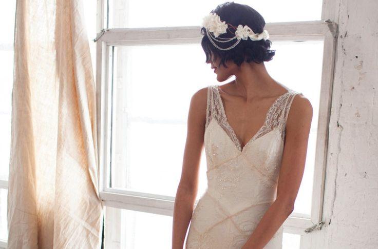 Beaded Lace Wedding Dress Art Deco Inspired