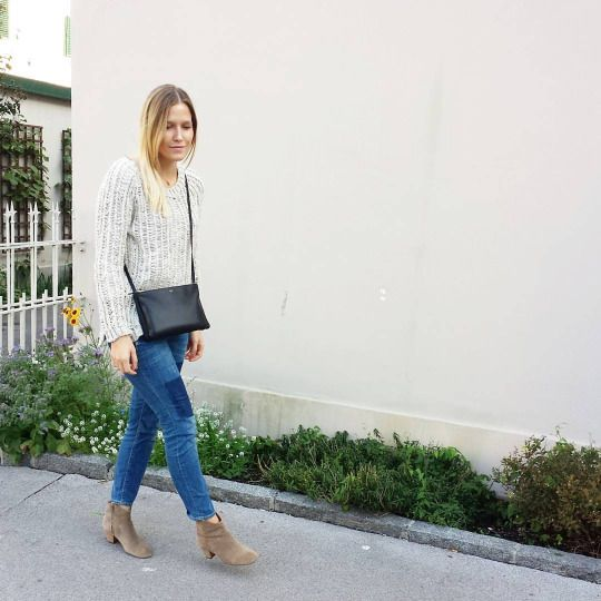 tifmys H&M knit and denim, Céline trio bag & Isabel Marant Dicker boots.