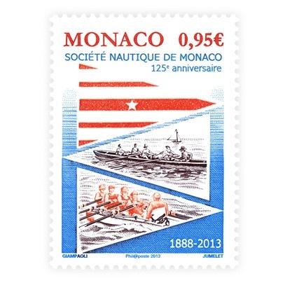 """Poštová známka Monaka """"125. Výročie Societe Nautique de Monaco""""."""