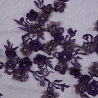 Dark Purple 3D Floral Embroidered Tulle with Beads and Sequins