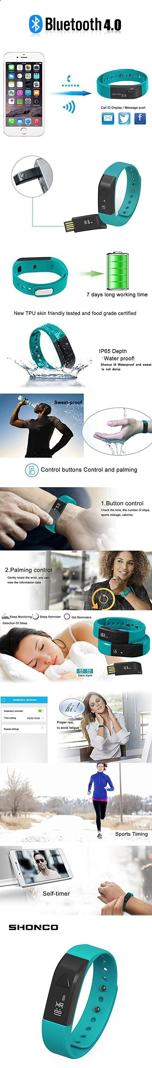 Activity Bracelets Fitness - Fitness Tracker Bracelet,Shonco I5 Waterproof Bluetooth Activity Tracker Smart Band Wristband with Sports Pedometer Health Sleep Monitor Calories Burned Counter for iPhone Android Phones - Blue - The benefits of wearing these smart bracelets are not only in your comfort, but also in that they are able to control all your physical progress