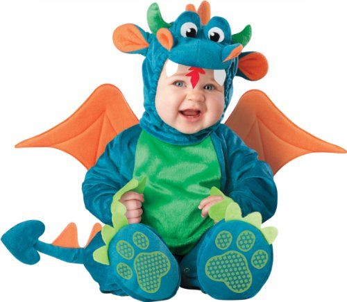 Lil Characters Unisex-baby Infant Dragon Costume, Teal/Green, Medium (12 - 18 Months) Lil Characters