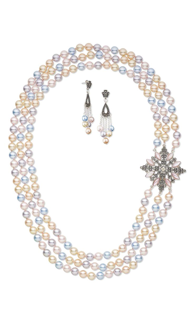 Jewelry Design Ideas 25 best ideas about beaded jewelry on pinterest jewelry making jewelry making supplies and seed bead jewelry Jewelry Design Triple Strand Necklace And Earring Set With Swarovski Crystal Pearls And Sterling