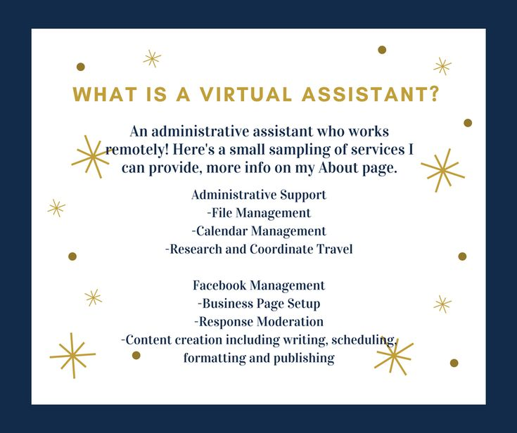 An administrative assistant who works remotely! Here's a small sampling of services I can provide, more info on my About page.