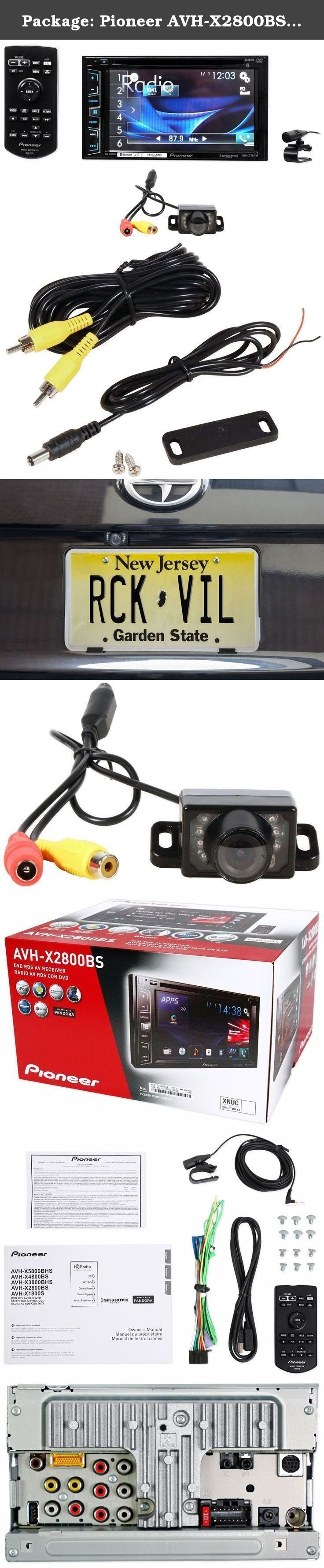 Package pioneer car audio monitor receiver with bluetooth rockville rear view backup car camera