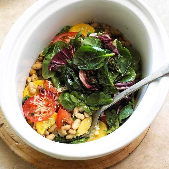 Casseroles can go in the slow cooker, too! The layers of beans, polenta, and cheese that form the base of this dish cook in the slow cooker. Add fresh spinach, radicchio, and tomatoes before serving for a nutrition boost.