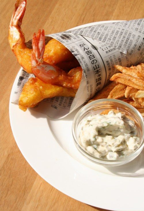 Fish (& Prawns) and Chips with Preserved Lemon Tartare Sauce Recipe. This recipe calls for preserved lemons, and the recipe for those is here: http://www.opensourcefood.com/people/theory/recipes/preserved-lemons .