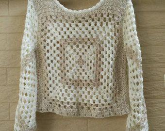 Grey white crochet top/ Crochet fringe top/ Granny by ElenaVorobey