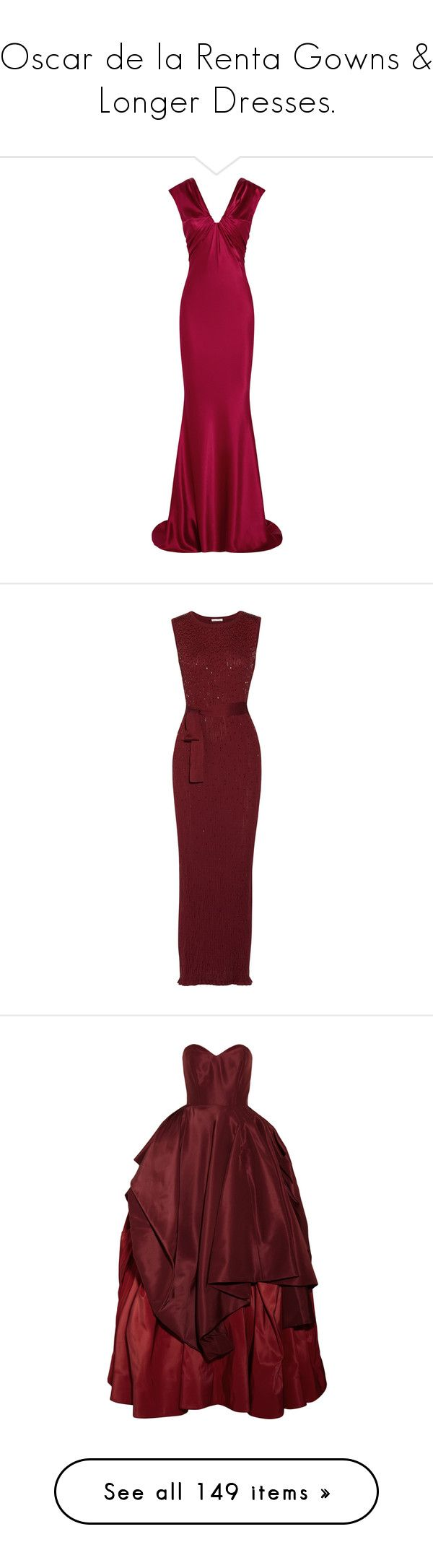 """Oscar de la Renta Gowns & Longer Dresses."" by that-drumming-noise ❤ liked on Polyvore featuring dresses, gowns, long dresses, oscar de la renta, evening gowns, crimson, purple evening dresses, petite dresses, purple dress and silk evening gowns"