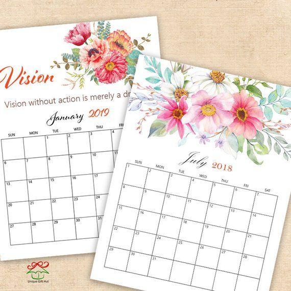 2018 And 2019 Watercolor Floral Calendar Printable Watercolor