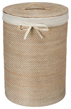 Round Rattan Hamper with Liner, White Wash beach-style-hampers