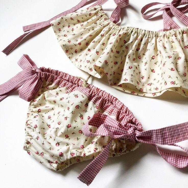 Baby girl cotton bikini – baby girl swimsuit – two-piece mare – baby costume- Bi…