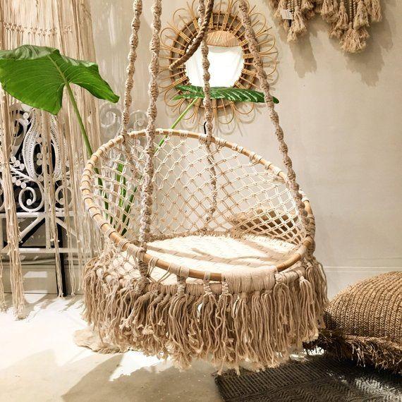 Handmade Macrame Hammock Swing Rattan Hanging Chair Etsy