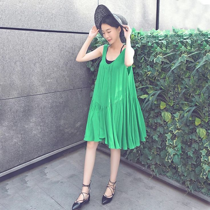 Green sexy v-neck loose dresses