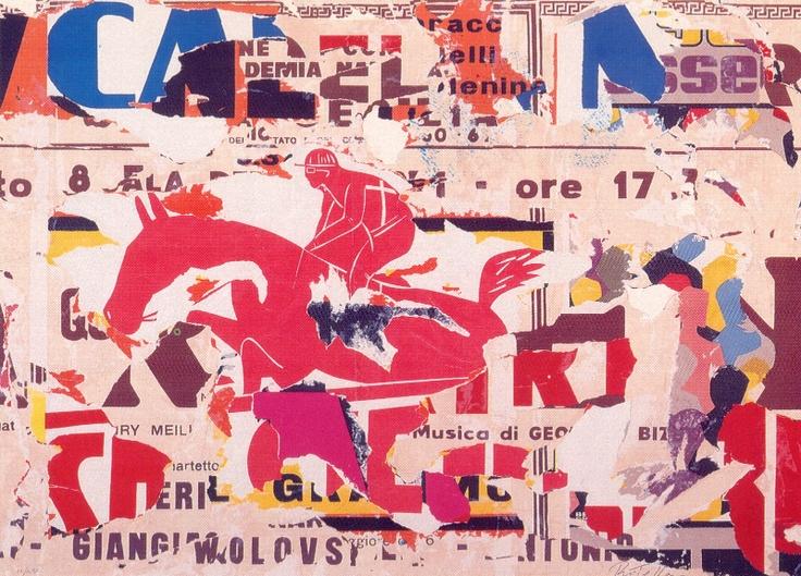 Mimmo Rotella, Cavaliere Rosso, serigrafia collage, 135 x 180 44/70