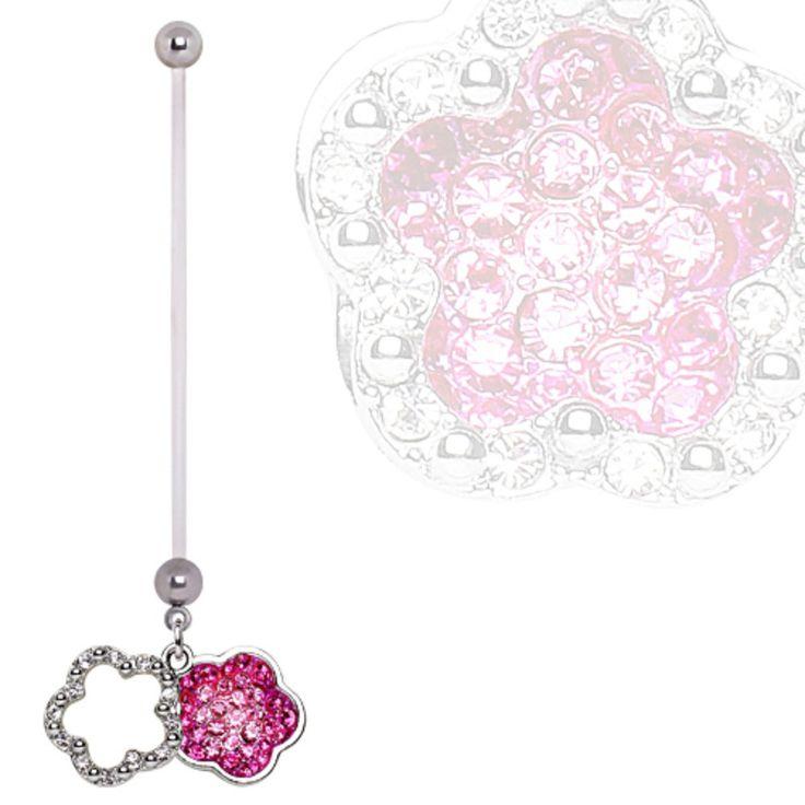 BioFlex Double Layer Flower Dangle Pregnancy Navel Ring