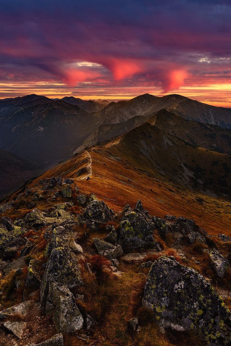 Western Tatras - Sunset over Western Tatras, view from Kasprowy Wierch, Tatra Mountains, Poland