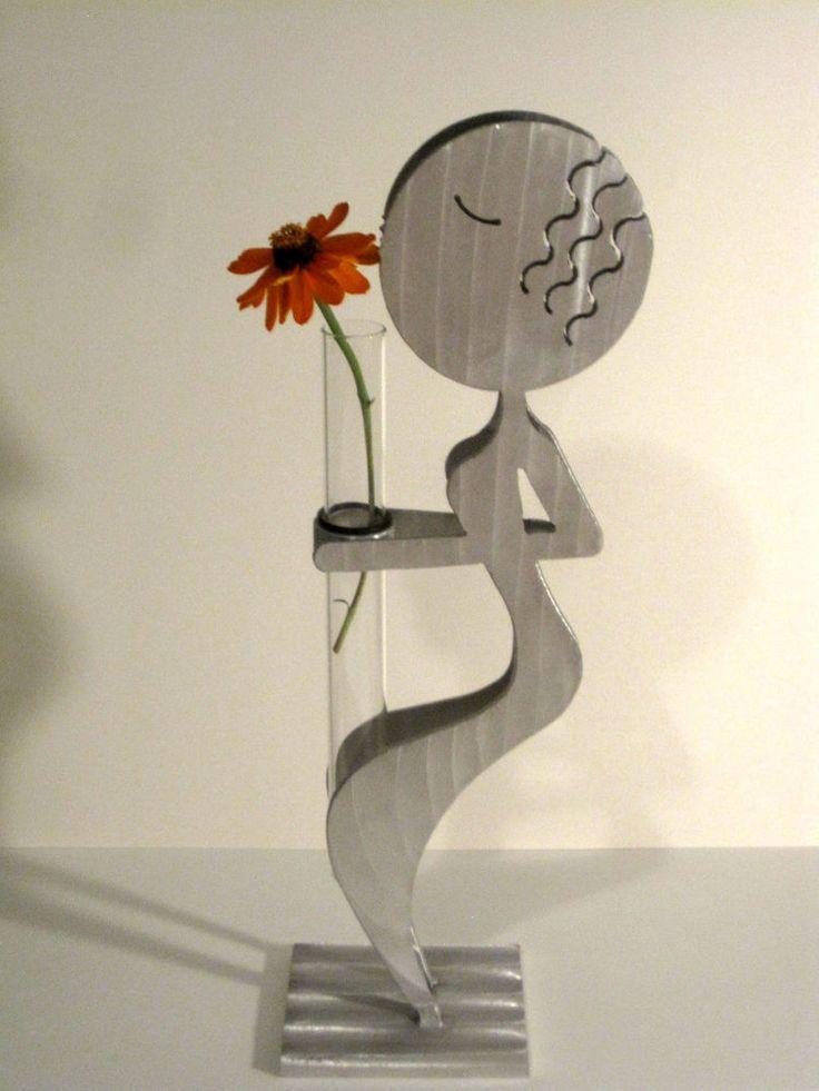 Rockledge Studio Contemporary Art Vase Flower Girl Fred Garbotz Aluminum Signed #Handmade #Contemporary