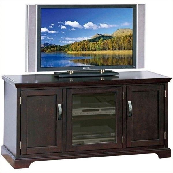 "Leick Furniture 50"""" TV Stand with Storage ($304) ❤ liked on Polyvore featuring home, furniture, storage & shelves, entertainment units, cherry, cd storage furniture, dvd furniture, cd dvd furniture, hardware furniture and door furniture"